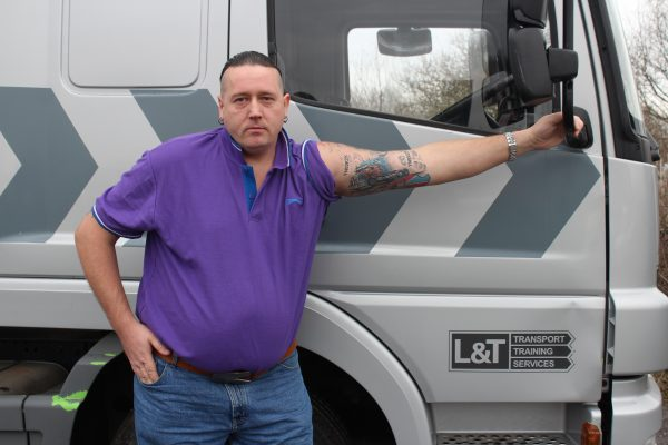 A photo of Dean Moxon showing the Optimus Prime Tattoo he had after passing his HGV training Class 1 test