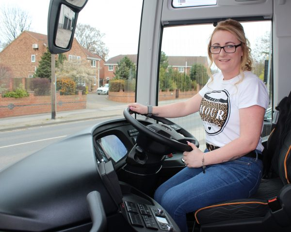 Photograph of Leanne in a coach