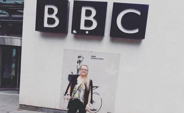 Photo of Leanne outside BBC Radio Leeds