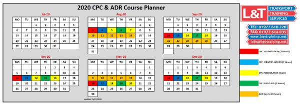 l&t transport training drivercpc calendar